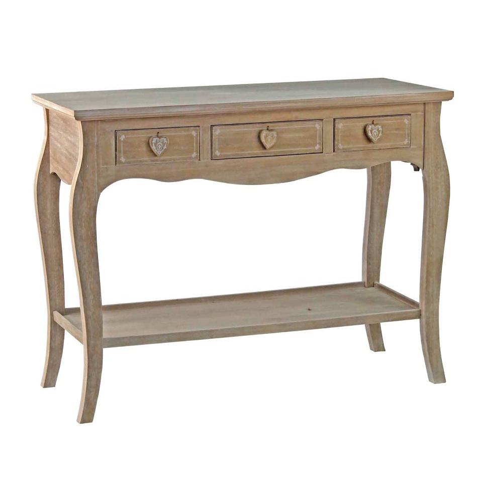 Consolle legno naturale 3 cassetti mobili provenzali online for Consolle legno