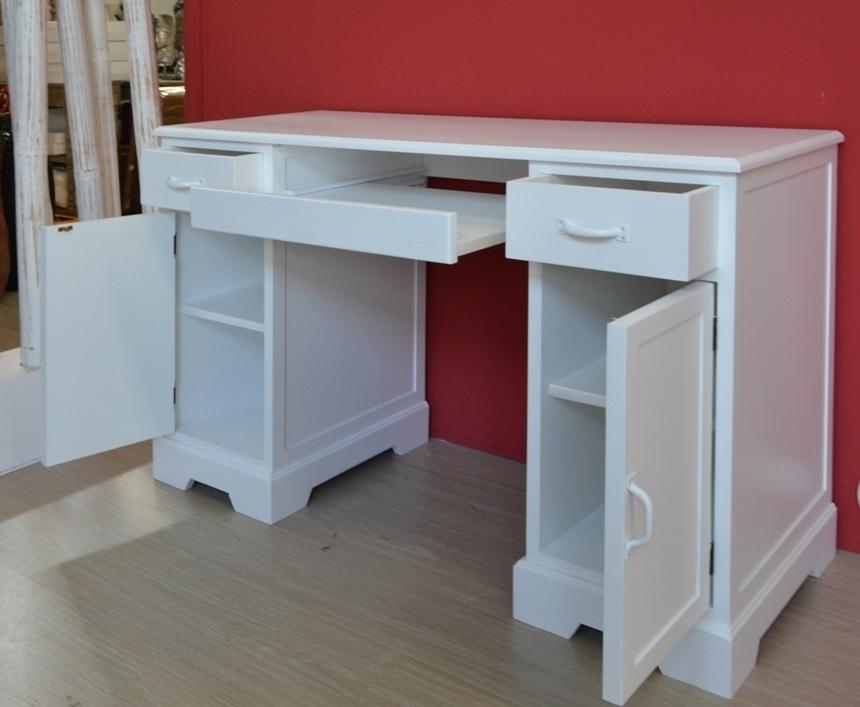 Scrivania porta computer legno bianca outlet mobili etnici