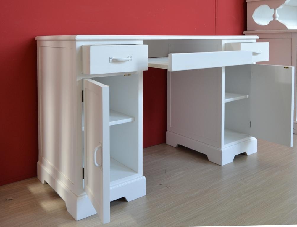 Scrivania porta computer legno bianca outlet mobili etnici for Mobili per computer