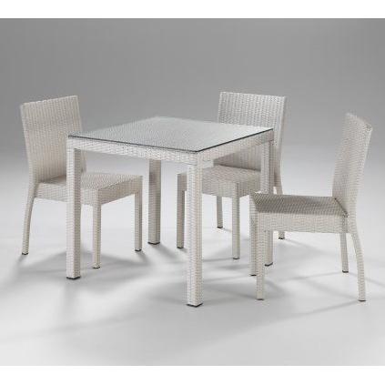 Set Tavolo E Sedie Bianco.Set Giardino Tavolo E Sedie Bianco