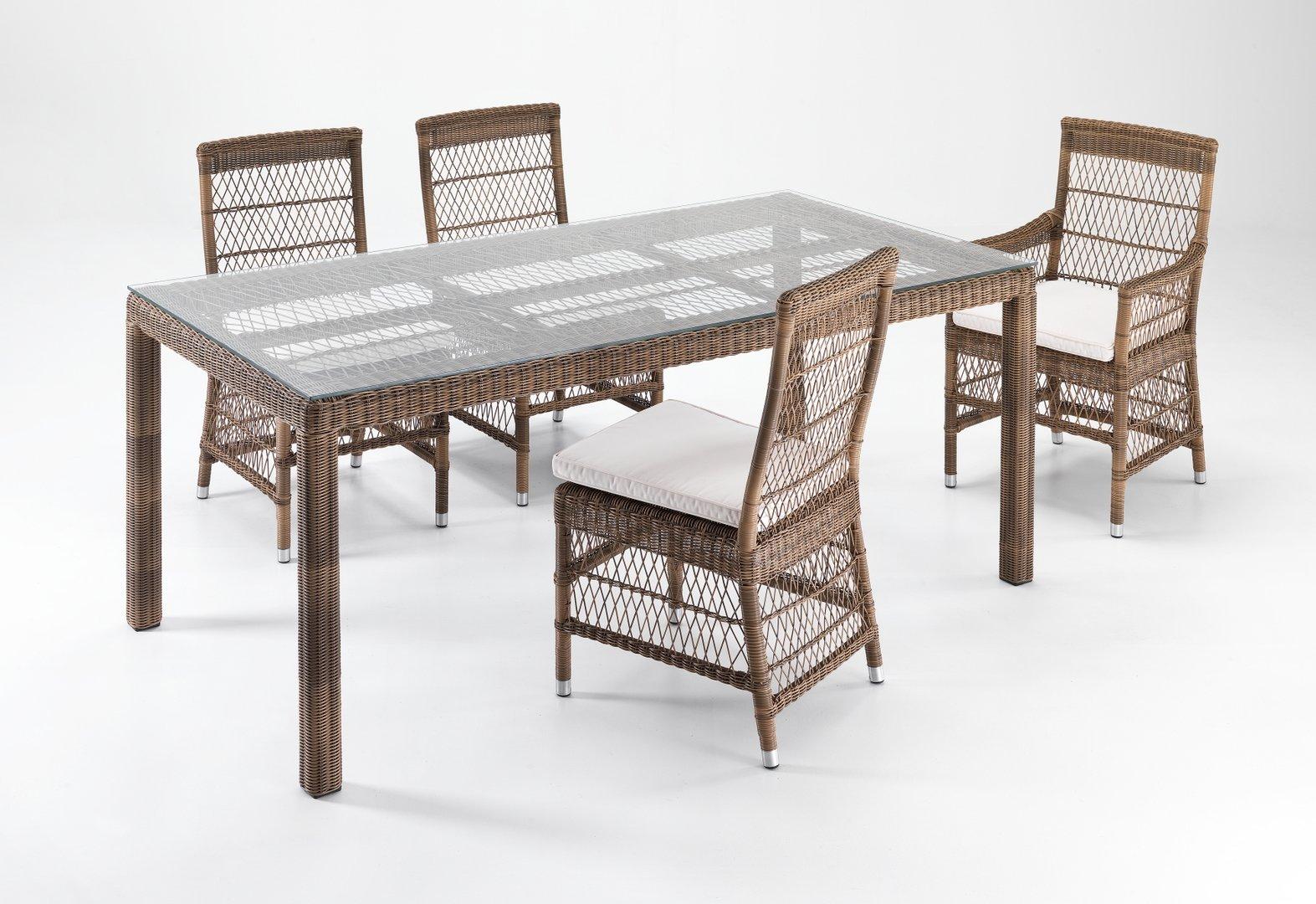 Tavolo rettangolare rattan sintetico etnico outlet mobili for Tavolo con sedie da giardino offerte