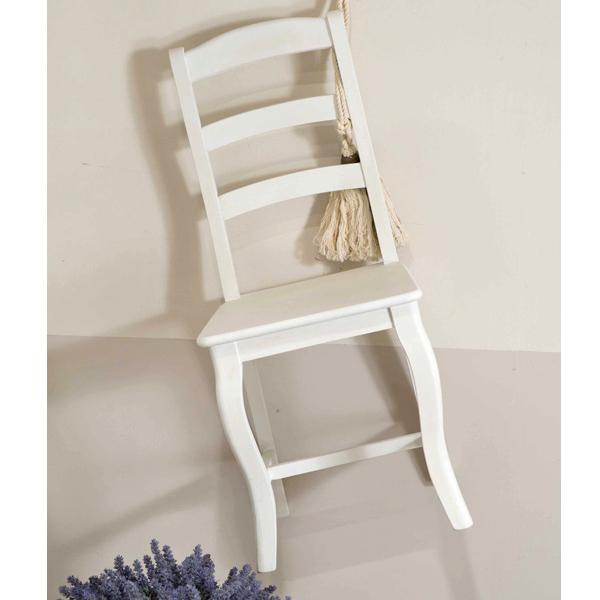 Sedia provenzale in legno bianco crema Outlet mobili etnici