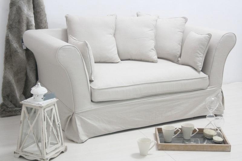 Divano francese in lino bianco divani provenzali online for Divani on line