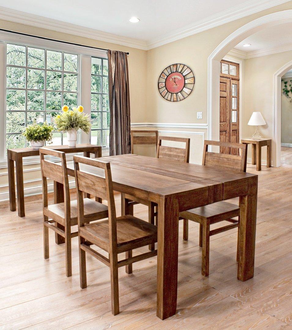 Sedia legno di mango sedie legno massello for Tavolo e sedie per soggiorno