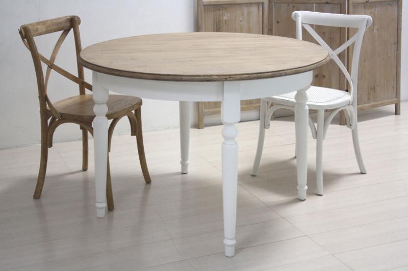 Tavolo tondo bianco shabby chic mobili provenzali shabby chic - Dimensioni tavolo tondo 4 persone ...