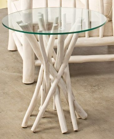 Tavolino con vetro bianco shabby chic etnico outlet mobili for Salotti bianchi
