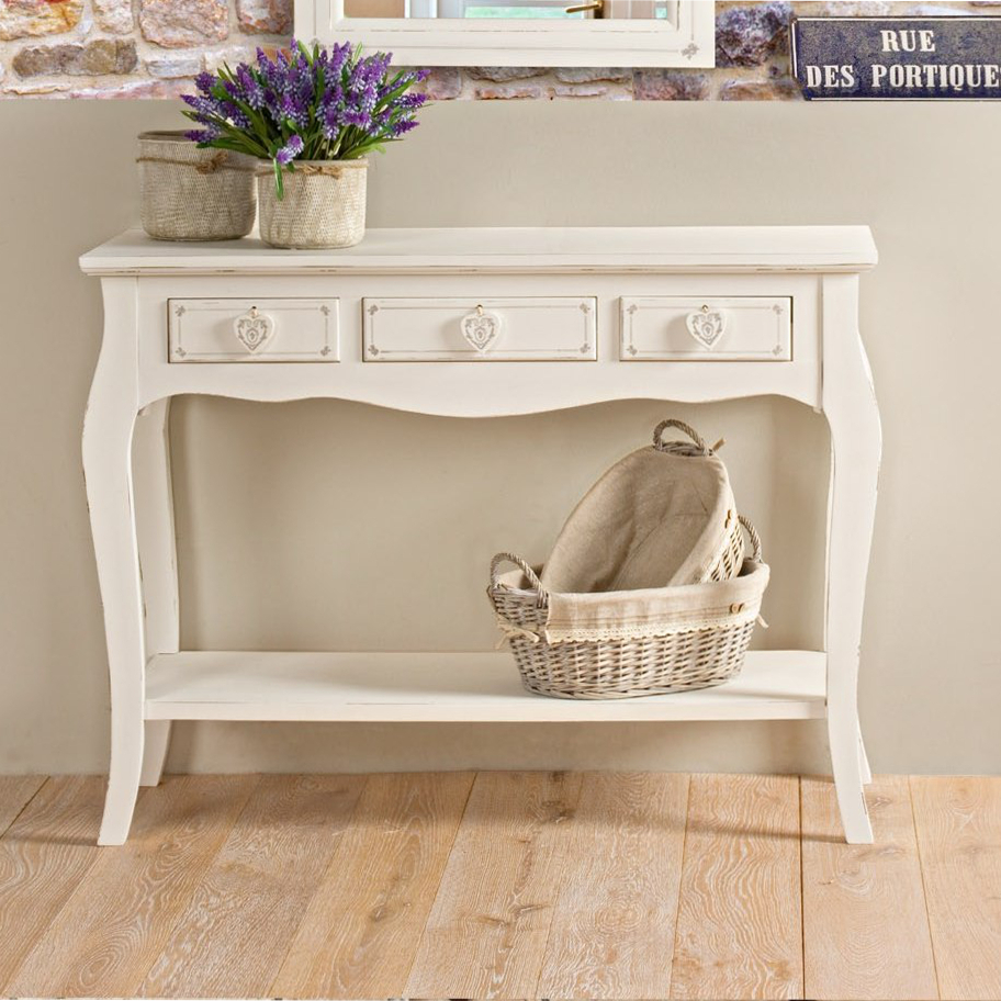 Consolle Bianca Provenzale.Consolle Shabby Chic Bianca
