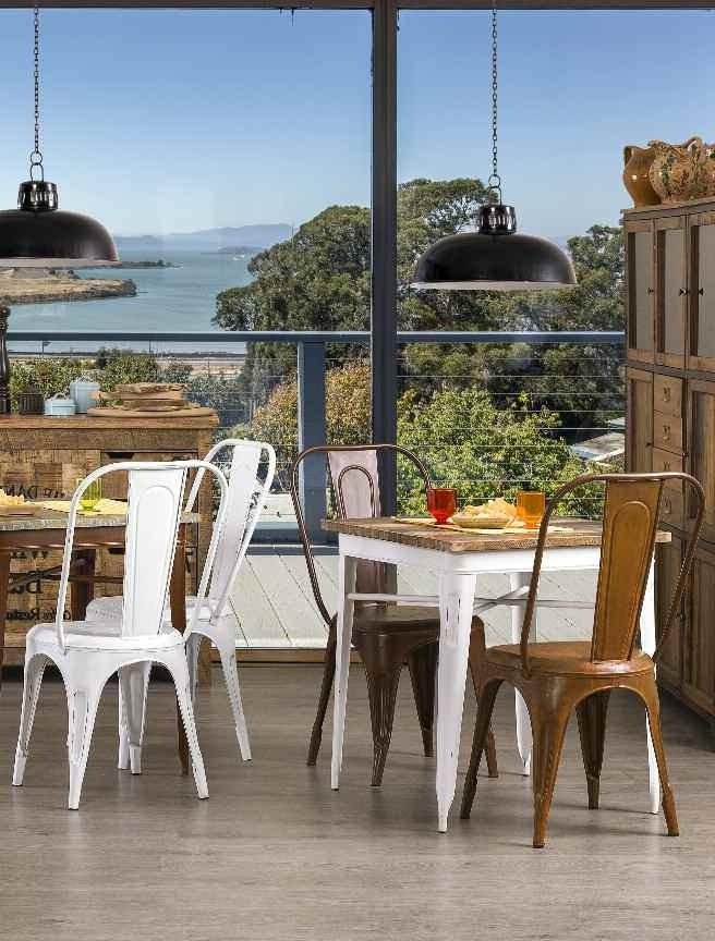 Tavolo legno e ferro industrial bianco tavoli vendita online - Tavolo legno e ferro ...