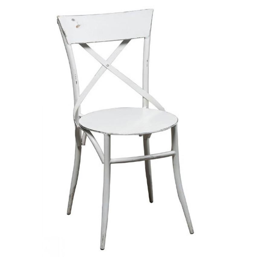 Sedia industrial bianca ferro mobili e sedie stile for Sedia design bianca