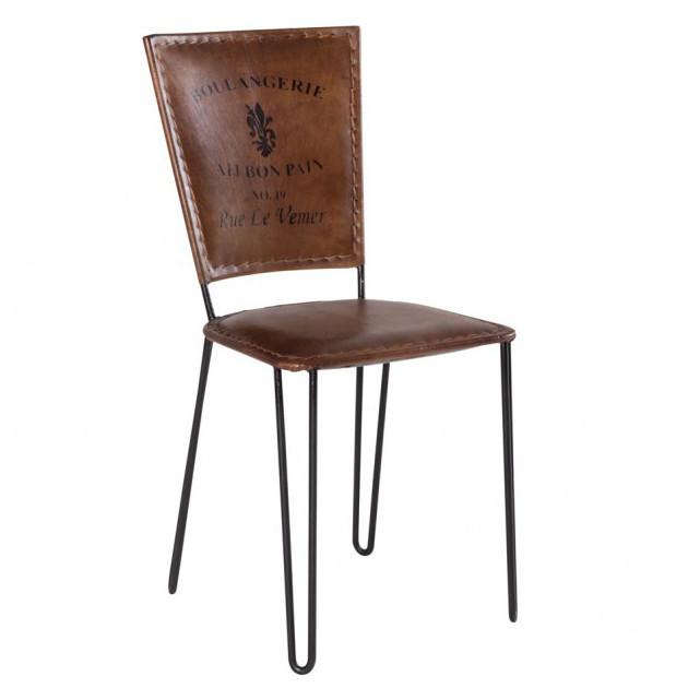 Sedia industrial in ferro e cuoio sedie stile industriale for Sedie design outlet online