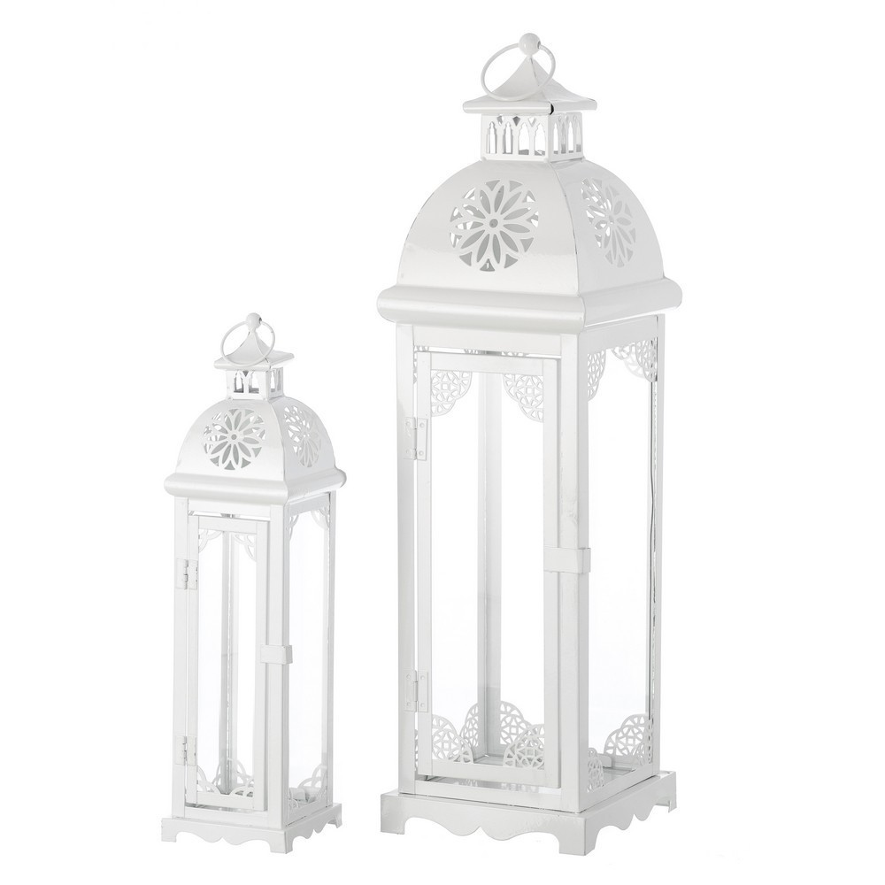 Set 2 lanterne ferro bianco etnico outlet mobili etnici for Lanterne bianche