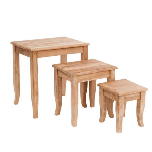 Set 3 tavolini in teak etnici