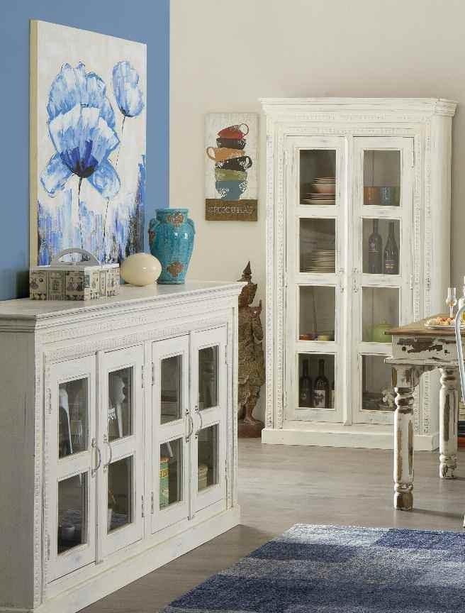 Tavolo legno massello bianco shabby etnico outlet mobili for Mobili legno bianco anticato