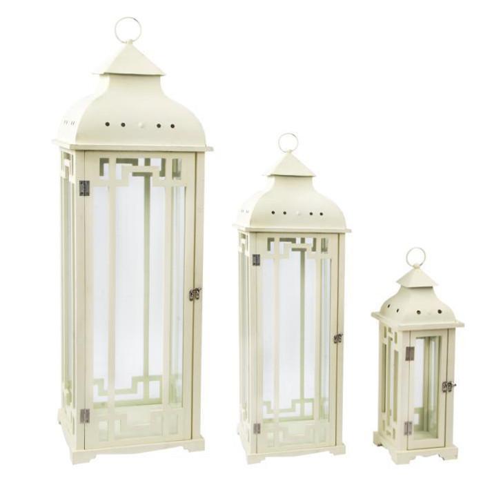 Set 3 lanterne in legno bianco etnico outlet mobili for Lanterne in legno