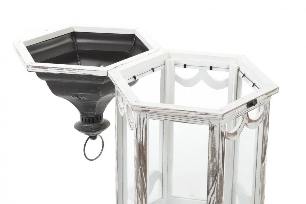 Set 2 lanterne in legno shabby etnico outlet mobili for Lanterne in legno