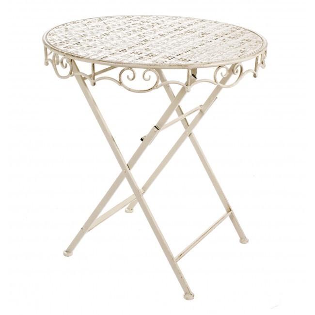 Tavolino ferro battuto crema