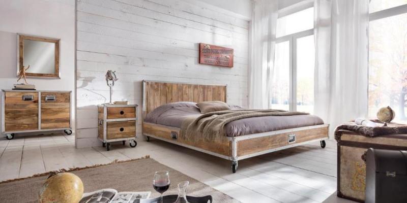 Letto industrial legno mango mobili stile industriale online - Camere da letto retro ...