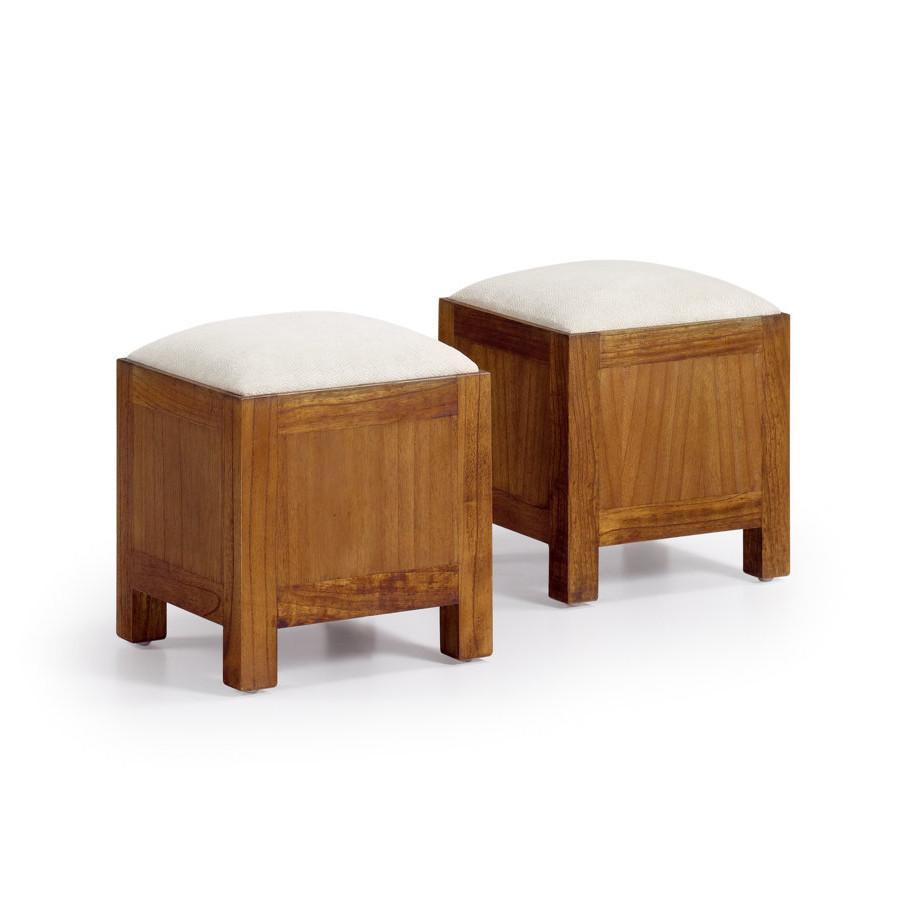 Tavolino neo coloniale con 2 pouff mobili coloniali online for Tavolino con vetrina