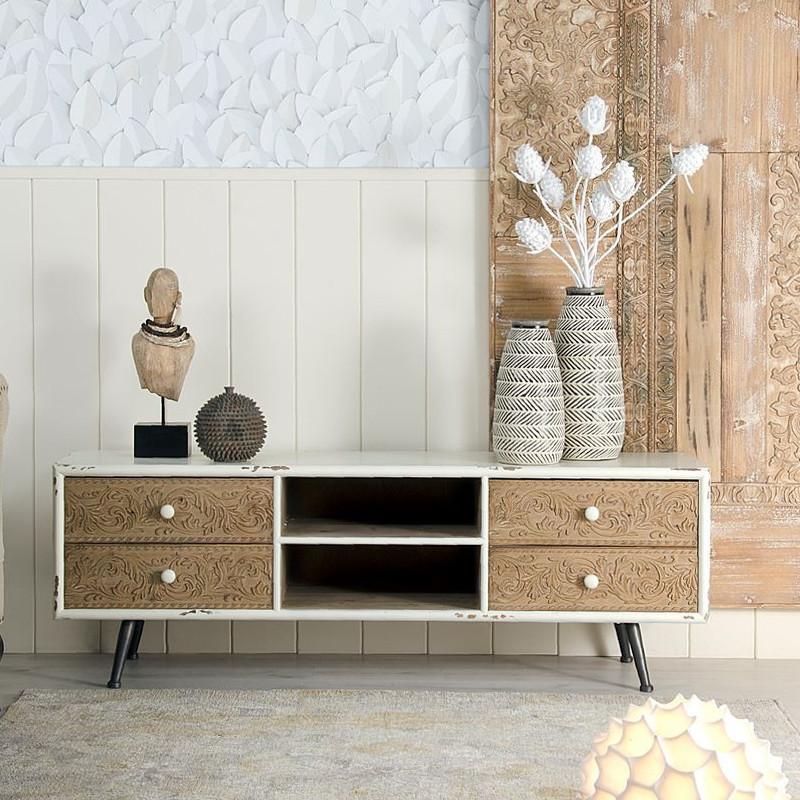 Porta tv bianco stile nordico legno mobili online for Design nordico on line