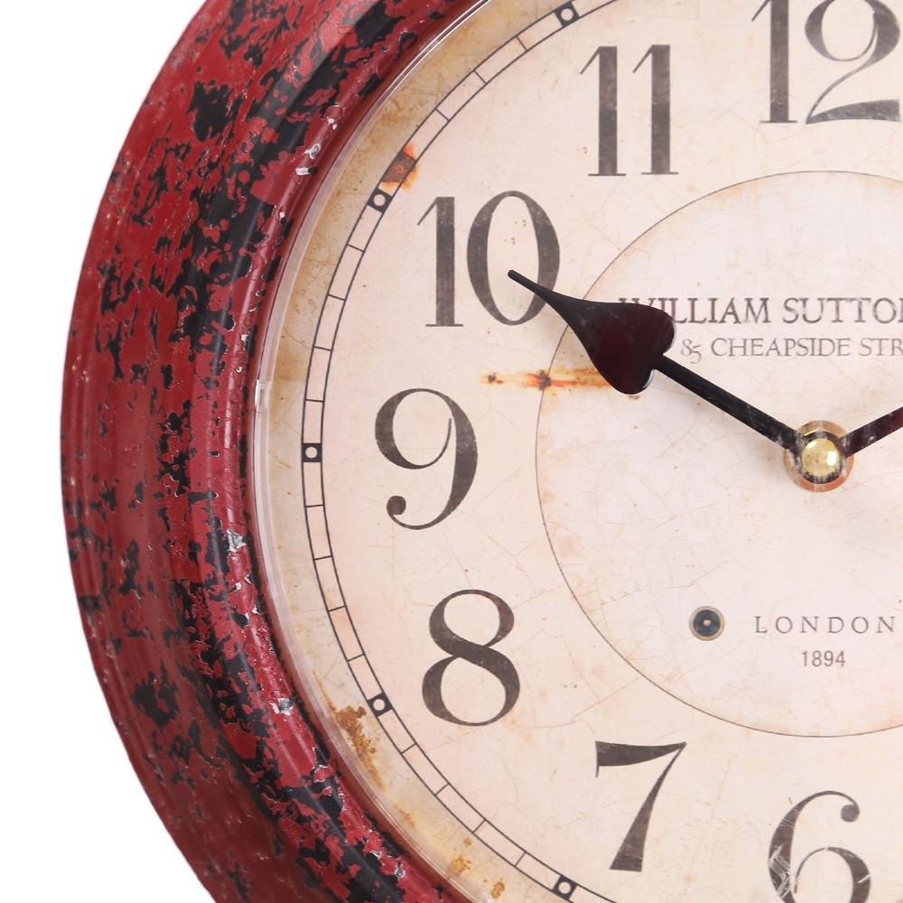 Orologio parete industrial rosso orologi stile industriale for Batterie orologi tabella