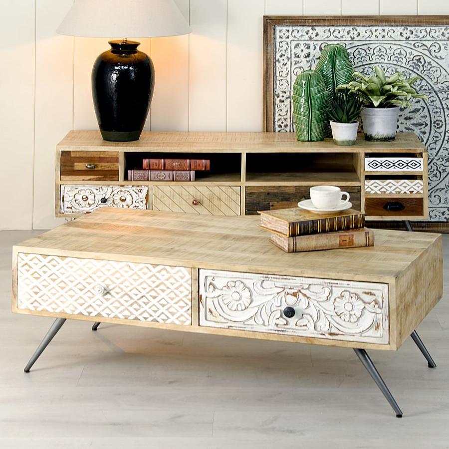 Tavolino salotto vintage legno mango Mobili stile vintage