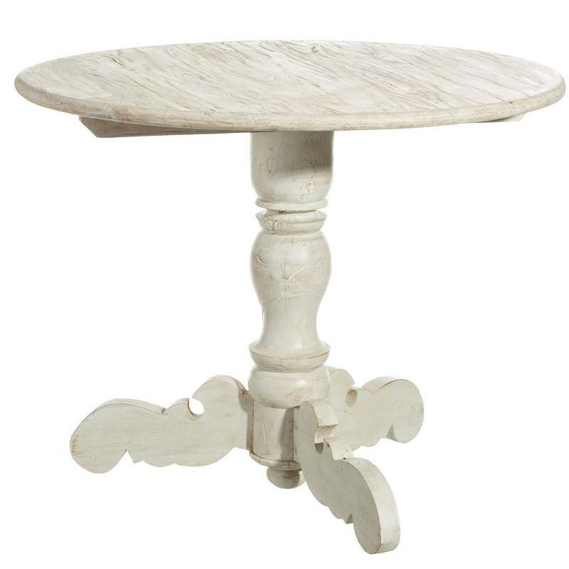 Tavolo tondo bianco shabby chic legno arredamento provenzale - Tavolo tondo bianco ...