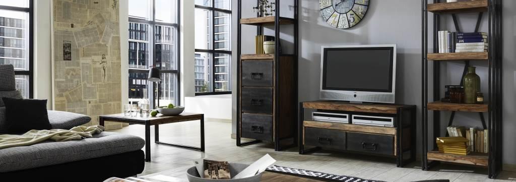 Mobile tv industrial new style sheesham stile industriale for Mobel industrial style