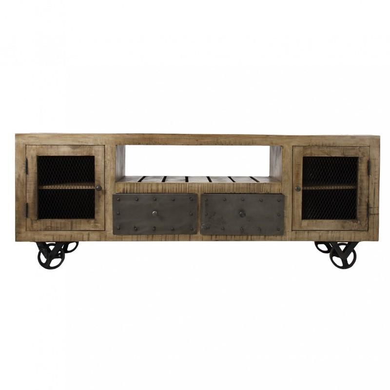 Porta TV industrial legno e ferro con ruote stile industriale