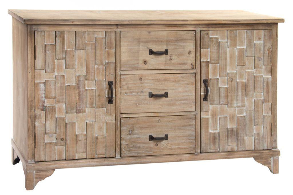 Credenza con cassetti legno naturale mobili stile nordico - Mobili legno naturale ...