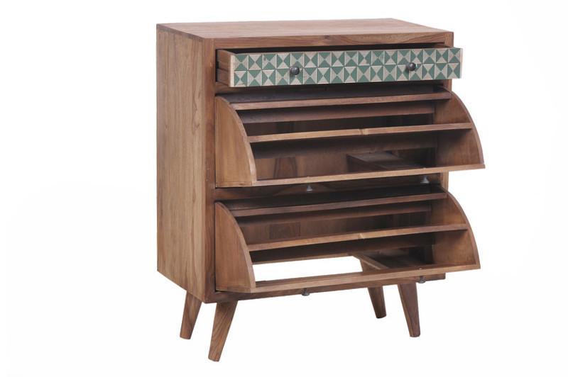 Scarpiera vintage legno massello sheesham Scarpiere online