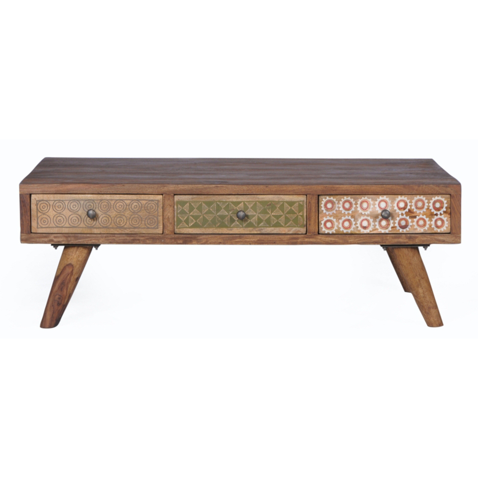 Tavolino salotto vintage legno sheesham