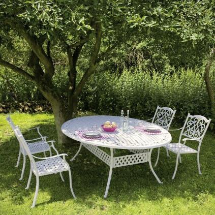 Tavolo Giardino Ferro Battuto Bianco.Tavolo Giardino Provenzale Bianco