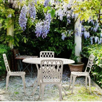 Tavoli Da Giardino Provenzali.Tavolo Tondo Provenzale Bianco Giardino Tavoli Shabby Esterno