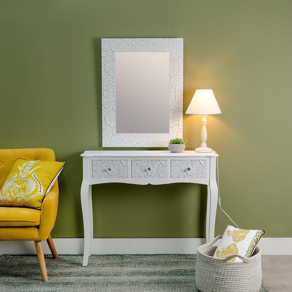 Consolle bianco shabby chic decorata mobili legno bianchi for Consolle shabby chic
