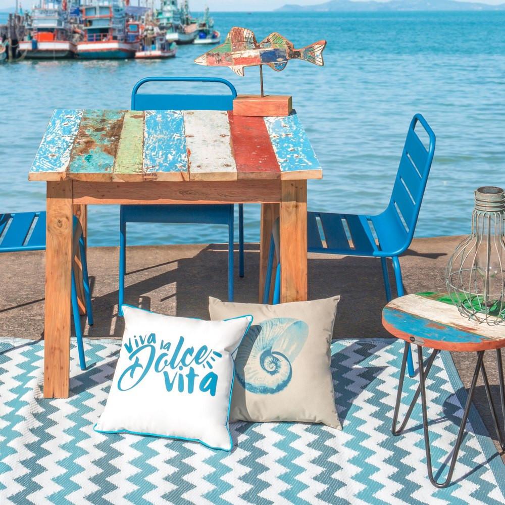 Sedia impilabile paris azzurro giardino arredamenti boho chic for Arredamento boho chic