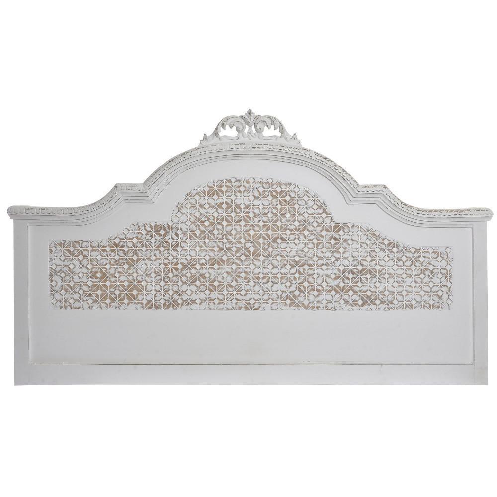 Testate letto shabby chic testata legno bianco decapato - Testate letto shabby ...