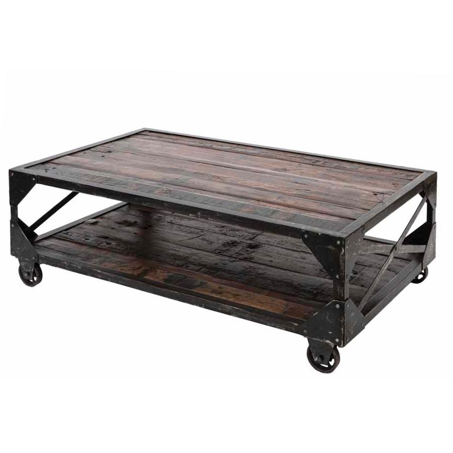 Tavolino stile industriale con ruote
