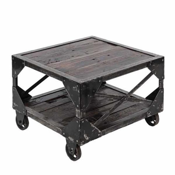 Tavolino Con Le Ruote.Arredamento Industrial Tavolino Stile Industriale Con Ruote