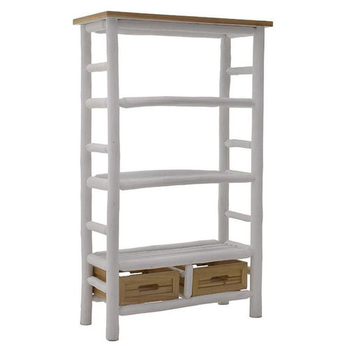 Libreria country white con cesti