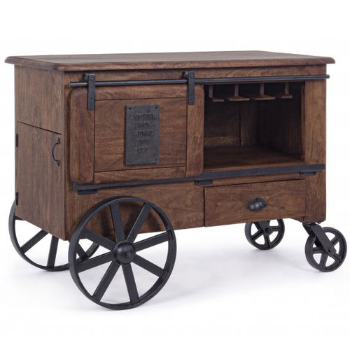 Mobile bar industrial brown